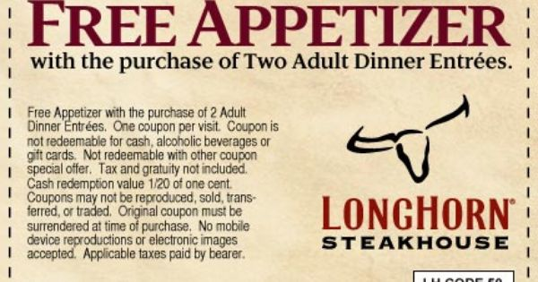 photo relating to Longhorns Printable Coupons known as Longhorn steakhouse printable coupon codes - Runaway bay accommodations