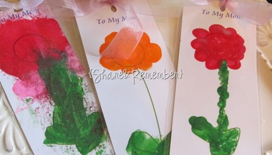 Mother's Day Craft: Fingerprint Flower Bookmarks - Things to Make and Do,