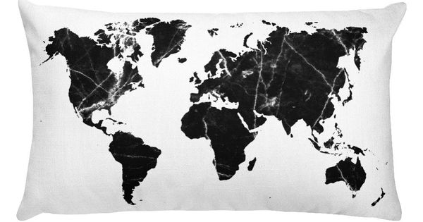 World Map Pillow Cover Black And White Marble World Map Etsy
