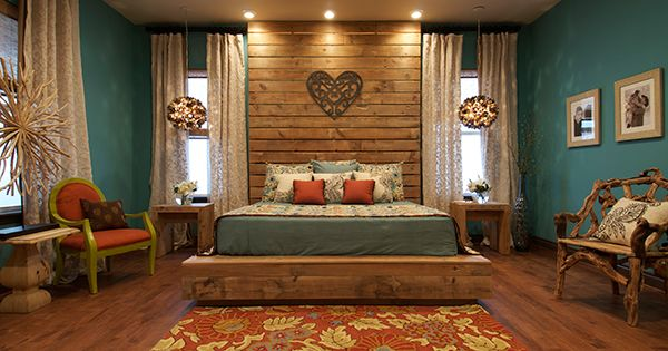 rustic romantic bedroom color schemes design ideas | like the set up, headboard, lighting, and windows but use ...
