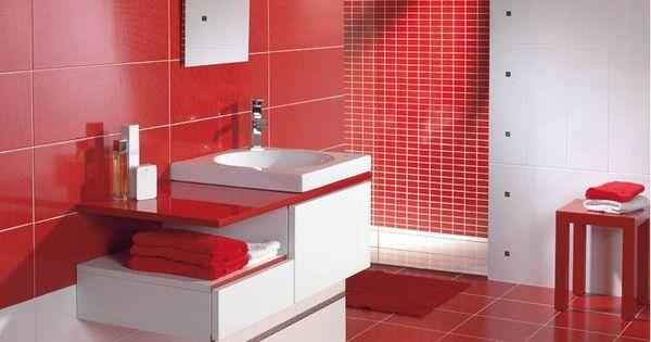 Ba os en rojo y blanco buscar con google ideas para - Muebles de bano rojos ...