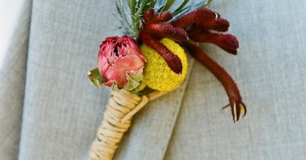 Joan!!! Check this idea out…. Very unique. Boutonniere by Tracy Rassett of
