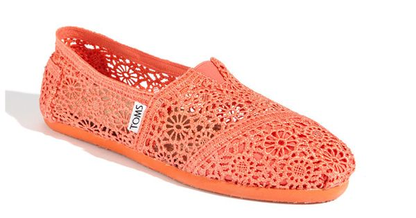 Coral crochet TOMS from my husband! Love them! :)