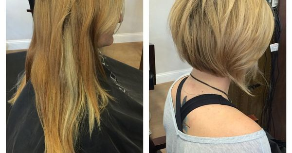 Before After Long Hair To A Line Bob Cut Edgy Short Hair