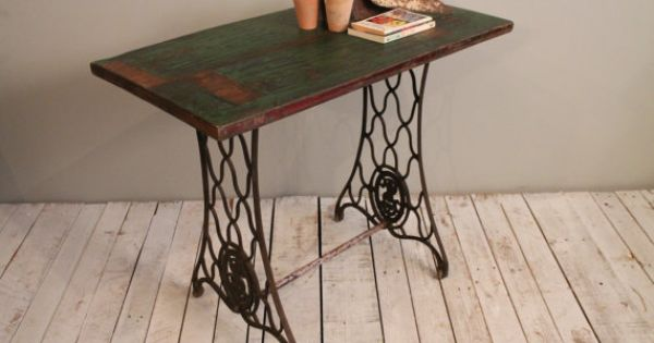 Antique reclaimed sewing table distressed green teak wood for Sofa table for plants