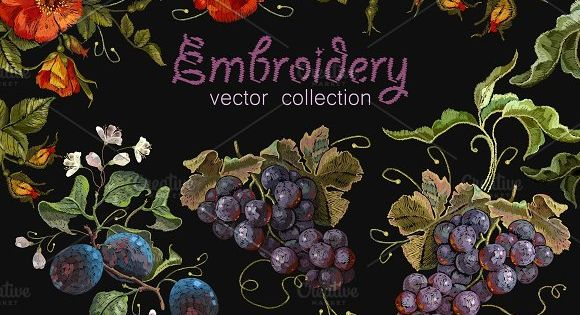 Fruit and flowers embroidery by Matrioshka