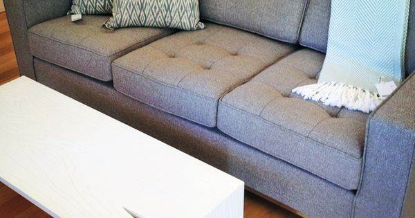 Gus Modern Chalet Pillows : Gus Modern Jane Sofa in Totem Pebble fabric + Stump Coffee Table + Brahm s Mount Herringbone ...