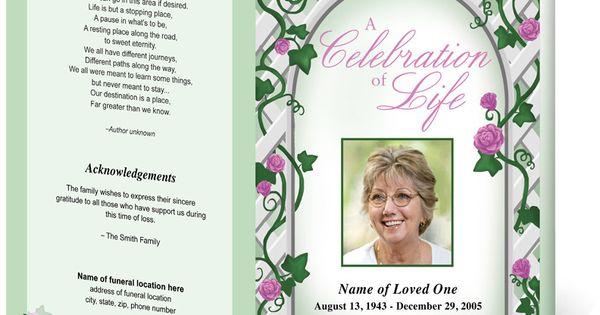 Floral Trellis Single Fold Funeral Program Template Design