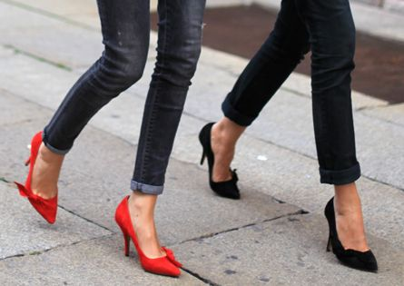 Cuffed skinny jeans + Isabel Marant pumps. girl fashion shoes girl shoes