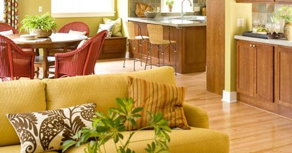 So Warm And Happy Color Theme In Yellow Green And Red With Wood Cabinets Li