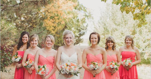 coral bridesmaid dresses. I love the gray shoes!! A tie into the