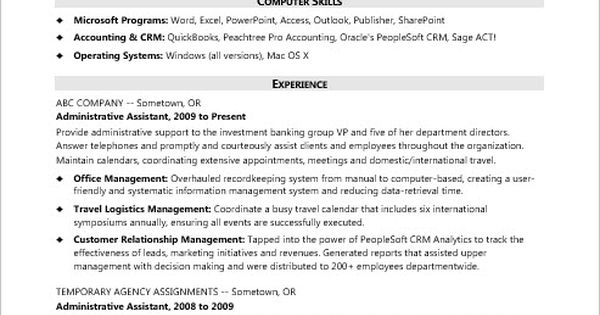 this sample resume for a temp admin shows how you can