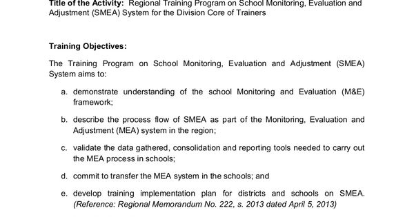 School Monitoring, Evaluation and Adjustment- Activity Completion - evaluation plan