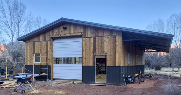 Another Project Wrapping Up In Utah For Our Client Jason He Opted To Go With Wood Siding While Still Using Steel Fo With Images Metal Buildings Wood Siding Diy Building