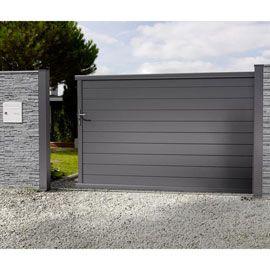 Portail En Alu Coulissant Nancray Noir 300 Cm Castorama Home Gate Design House Gate Design Door Gate Design
