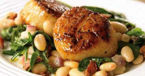 Seared Scallops with White Beans and Spinach- Quick Healthy Dinners from Women's