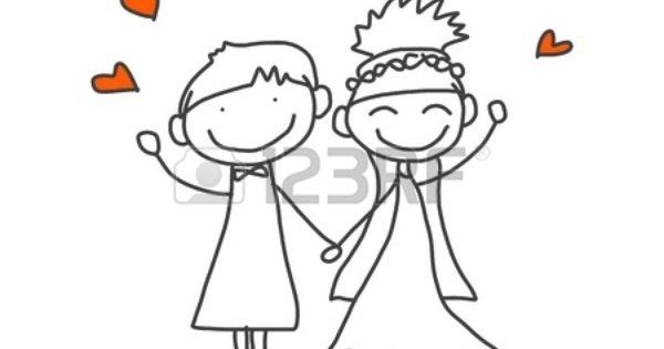 Disegno a mano cartone animato felice sposi archivio