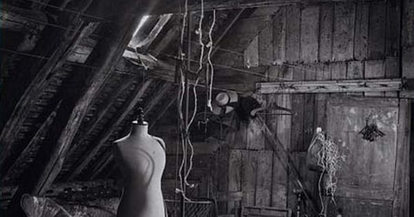 Abandoned attic, time warp, history, photo, black and white, vintage stuff, forgotten.