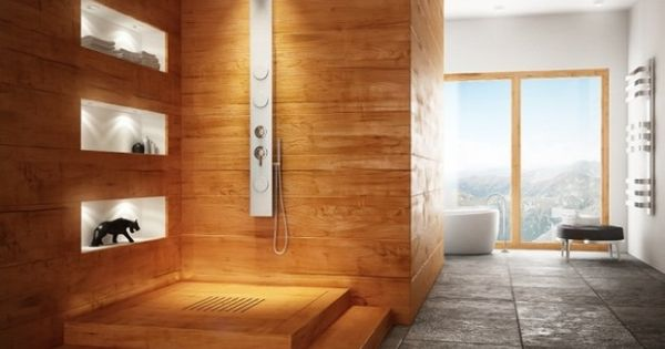 SdB douche bois   salle de bain   Pinterest   Design et Recherche