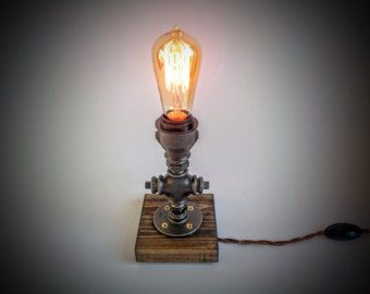 Asymmetric Edison Lamp Steampunk Lamp Table Lamp Industrial Lighting Plug In Night Light Bedroom Table Lamp Edison Bulb Table Lamp Table Lamps For Bedroom Rustic Table Lamps Table Lamp