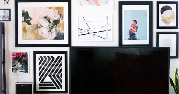 Art gallery wall around the TV- tips for choosing art, planning, and