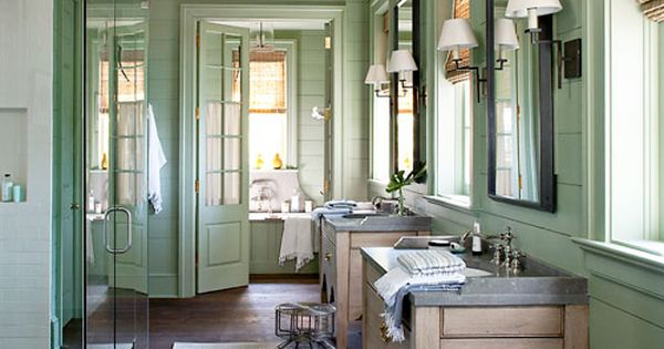 JUDDY BATHROOM / wall color / Calm green bathroom. Design: Bill Ingram.