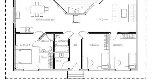 Small Home Plan With Large Covered Terrace Suitable To
