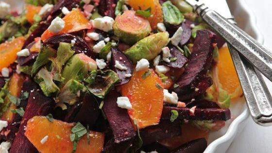 This warm roasted beet and brussels sprout citrus salad is just the thing you need to get you in the spring mood!