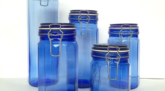 Vintage cobalt blue glass canisters 5 piece set kitchen storage containers hinged lid - Blue glass kitchen canisters ...