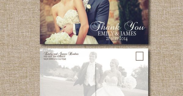 Wedding Thank You Postcard Classic. This listing is by JRaeCardArt