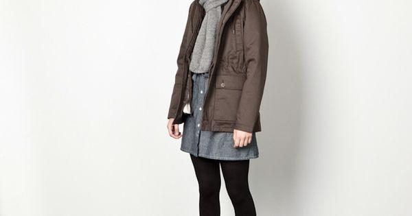 denim skirt + grey scarf + leggings + boots. lovely palette.