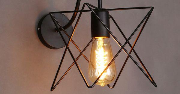 Vintage Loft Fer Cage Mur Lampe Industrielle Murale Salle De Bains Applique Murale Restaurant
