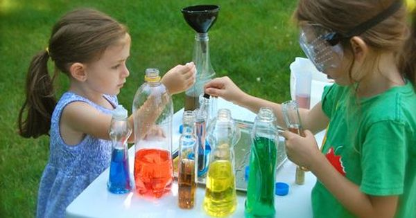 Water, food coloring, old bottles, and other toys become a summer science