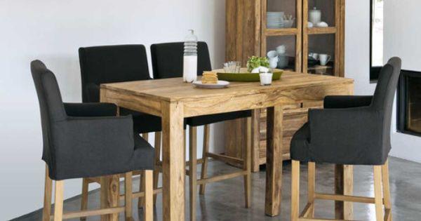 Table haute de salle à manger en bois de sheesham massif L 150 cm ...
