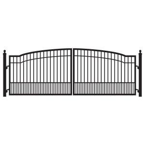 Aleko London Style 16 Ft X 6 Ft Black Steel Single Swing Driveway Fence Gate Dg16lonssw Hd The Home Depot Driveway Fence Driveway Gate Steel Gate Design