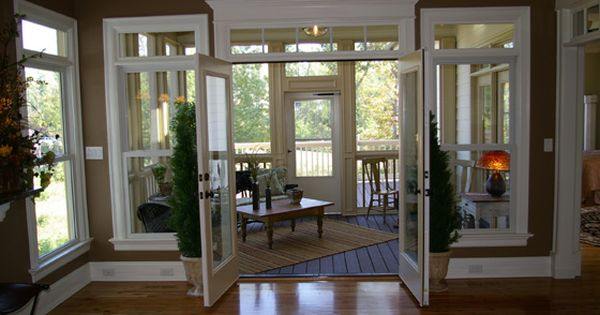 Love the french doors opening into the 4 season room project porch pinterest home french for Converting a sunroom into a bedroom