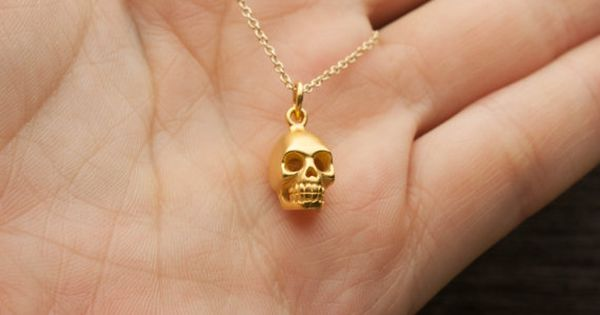 Gold Skull Necklace Matte 24k Gold Dipped Skull Pendant Gold Skull Necklace Gold Skull Skull Necklace