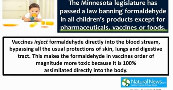 Formaldehyde Banned Unless ItS Used For Meds Vaccines And Foods
