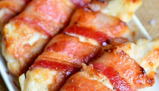 Bacon Wrapped Chicken Strips with a combination of maple syrup and Dijon