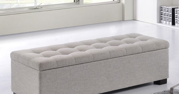 Ottomans Deacon Beige Upholstered Blanket Box: Kareem Upholstered Storage Bedroom Bench