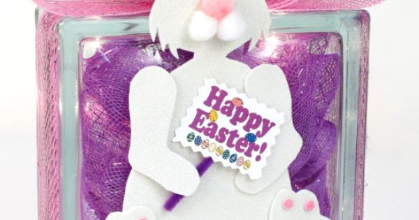 Nicole™ Crafts Easter Bunny Glass Block #easter #bunny # ...