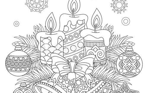 Christmas Coloring Page Holiday Decorations Hanging Balls Candles Jingle Bells Vinta Christmas Coloring Books Christmas Coloring Pages Christmas Coloring Cards