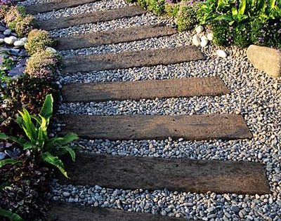 Railroad ties + pea gravel = garden path