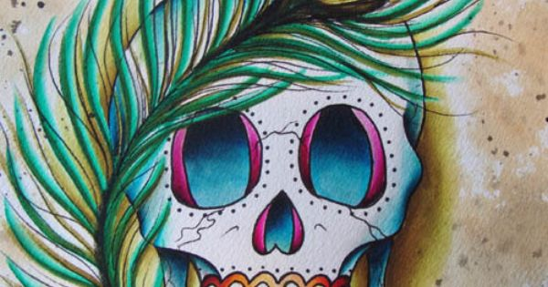 Peacock Sugar Skull: Peacock Feather And Skull Tattoo Flash Art 8x10 Painting