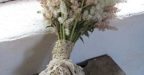 White, pink blushed and peachy astilbe bouquet -- maybe all white?