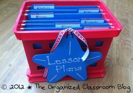 TEACHING IDEA: Use a file crate to organize your weekly lesson plans