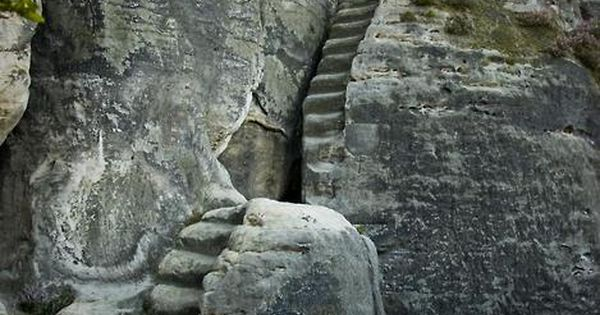 "Dresden, Germany, 13th century ancient stone stairs in the National Park ""Elbe"