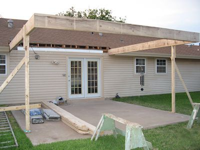 new patio cover construction day 1