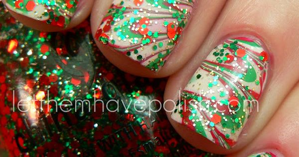 Christmas Nails in green and red swirl with some sparkles holiday nail
