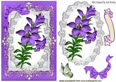 3D Die Cut Sheet Antique Lilies 3 Pictures 2 Pack